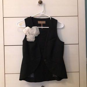 BCBG Max Azria Black Vest Floral Appliqué XXS